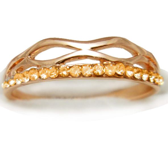 Кільце Жіноче з Покриття Золотом 14К з Золотистими Камінням Сваровскі, Розміри 19