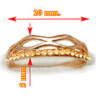 Кільце Жіноче з Покриття Золотом 14К з Золотистими Камінням Сваровскі, Розміри 19, фото 2