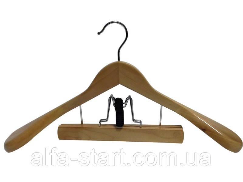 Дерев'яна костюмна вішалка плічка 45см з затиском для штанів і спідниць