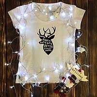 Женская футболка  с принтом - Олень - Merry Christmas