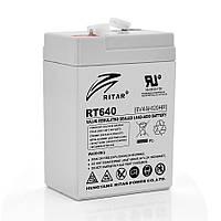Акумуляторна батарея AGM RITAR RT640, Gray Case, 6V 4Ah  ( 70х47х99 (107) ) Q20