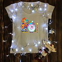Женская футболка  с принтом - Дед Мороз  - Смешарик