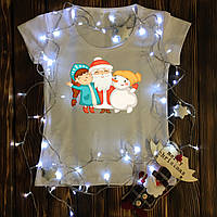 Женская футболка  с принтом - Дед Мороз,Снеговик и Снегурка