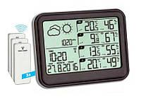 Цифровая метеостанция для дома с беспроводными датчиками TFA View Black (131*26*102 мм)
