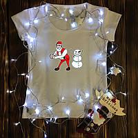 Женская футболка  с принтом - Дед Мороз,Снеговик - танцуют