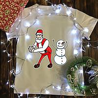 Мужская футболка с принтом - Дед Мороз,Снеговик - танцуют
