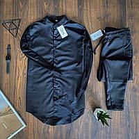 Мужской комплект Asos рубашка черная и брюки черные, костюм стильный