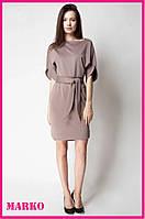 Стильное женское платье Malkovich (Бежевое) с поясом.