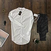 Мужской комплект Asos рубашка белая и брюки в полоску, костюм стильный