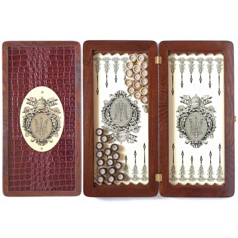 """Нарды средние деревянные с кожаными накладками и комплектуются фишками из дерева и кожи """"Тризуб"""""""