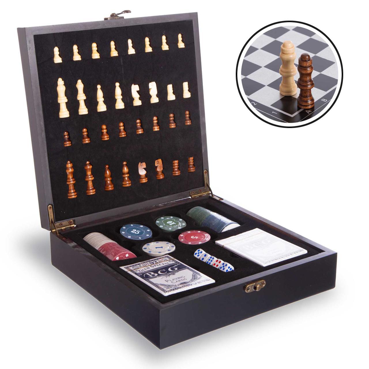 Шахи, покер 2 в 1 дерев'яні 24 x 24 см чорні W2624