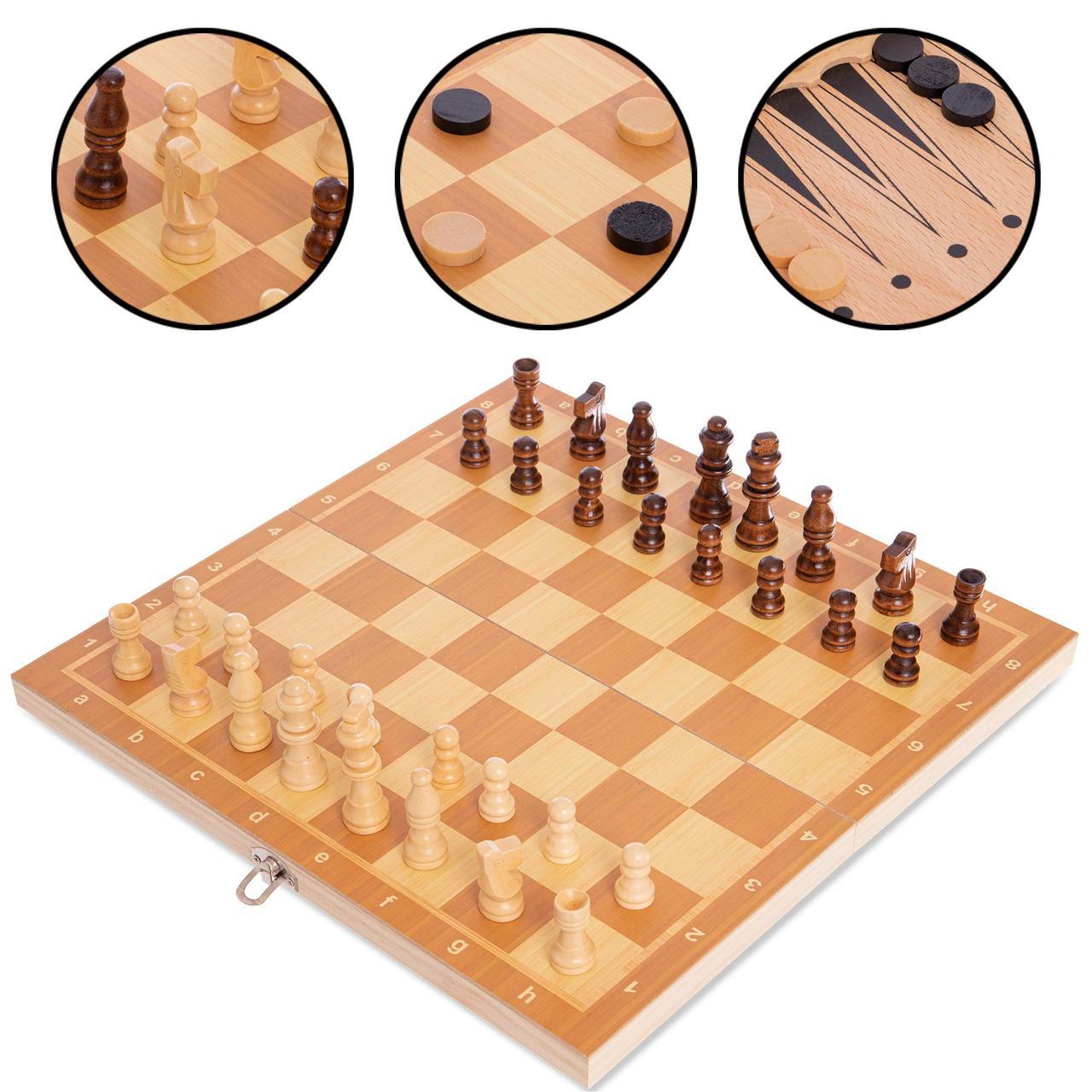 Шахматы, шашки, нарды 3 в 1 деревянные 34 x 34 см W7723