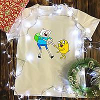 Мужская футболка с принтом - Финн и Джейк