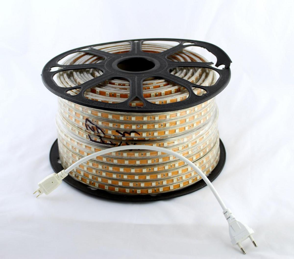 Світлодіодна LED стрічка 5050 WW 100m 220V (теплий білий діод)