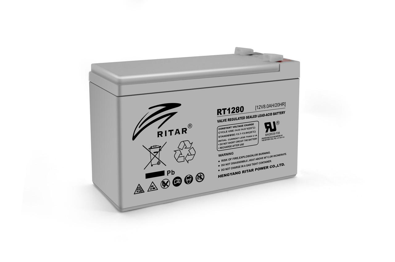 Аккумуляторная батарея AGM RITAR RT1280, Gray Case, 12V 8.0Ah  ( 151 х 65 х 94 (100) ) Q10