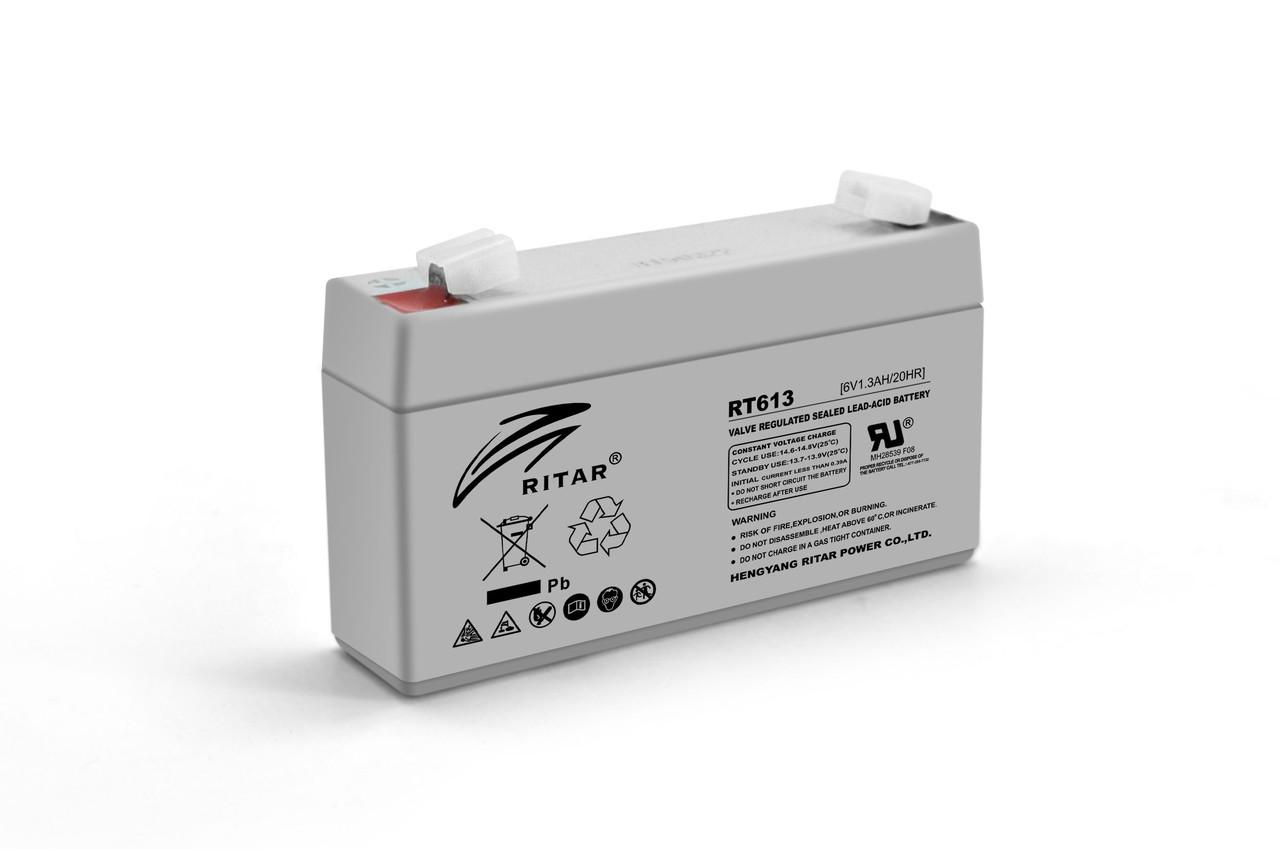 Аккумуляторная батарея AGM RITAR RT613, Gray Case, 6V 1.3Ah  ( 97х24х 52 (58) ) Q20