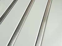 Реечный алюминиевый потолок Allux белый матовый - нержавейка сатин комплект 150 см х 200 см