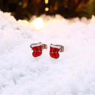 """Пуссеты женские с эмалью рождественские """"Christmas sock"""" позолота, фото 2"""