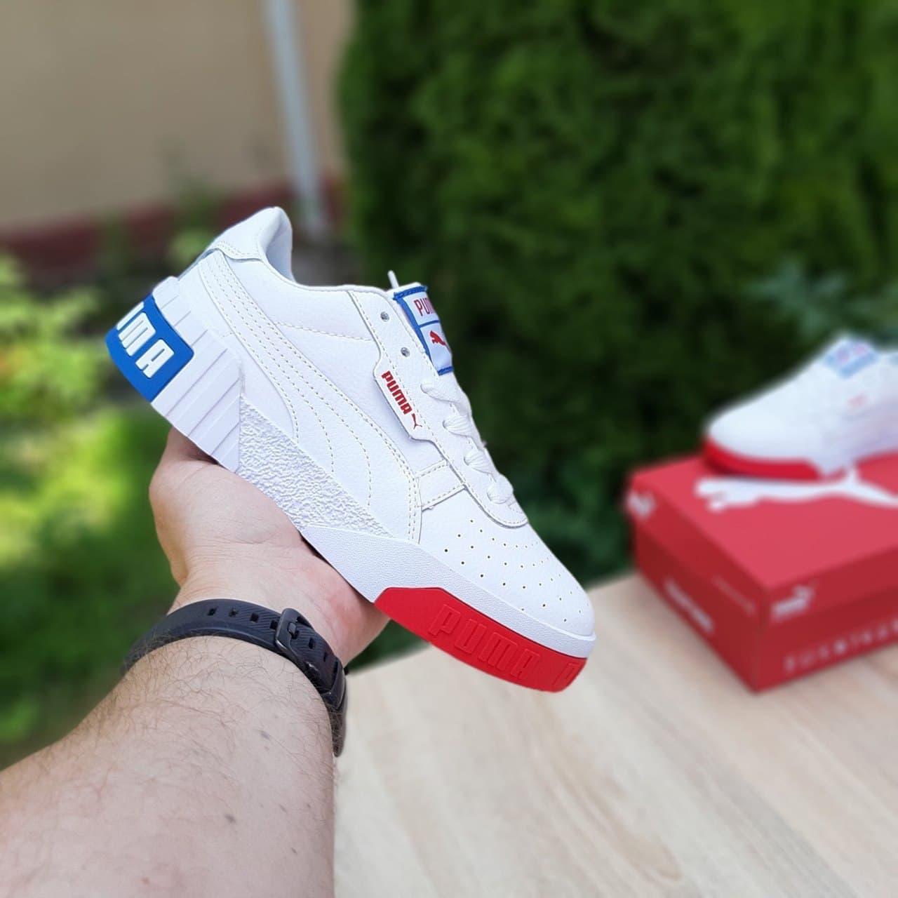 Женские кроссовки Pуma Cali Белые с красным и синим , 36-41