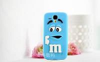 Объемный 3D силиконовый чехол для Samsung Galaxy s3 mini i8190 M&M's голубой