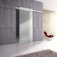 Стеклянные раздвижные двери (с амортизатором самодоводящим полотно), фото 1