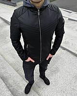 Куртка мужская кожаная с капюшоном черная