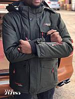 Мужская горнолыжная куртка теплая мембрана хаки