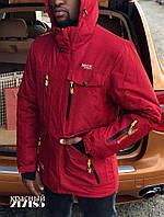 Мужская горнолыжная куртка теплая мембрана красная