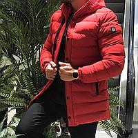 Модная мужская зимняя куртка с капюшоном красная