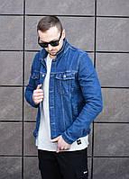 Стильная джинсовая куртка джинсовка мужская синяя с рисунком на спине