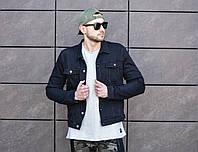 Куртка мужская джинсовая черная с качественной вышивкой на спине