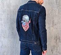 Куртка мужская джинсовая синяя с качественной вышивкой на спине