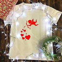 Чоловіча футболка з принтом - Амур з сердечками