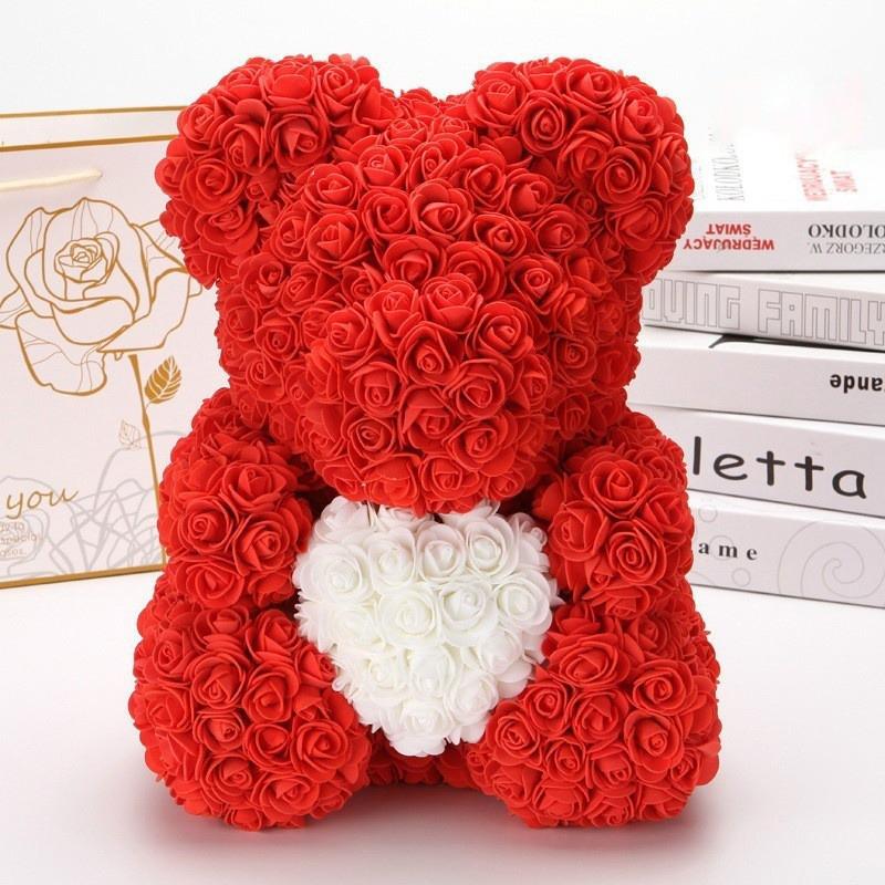 Мишка из роз 40 см в подарочной коробке 3D Тедди Мишка из цветов Красный-Оригинальный подарок девушке