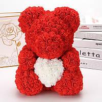 Мишка из роз 40 см в подарочной коробке 3D Тедди Мишка из цветов Красный-Оригинальный подарок девушке, фото 1