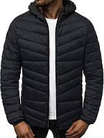 Стеганая куртка мужская с капюшоном деми черная