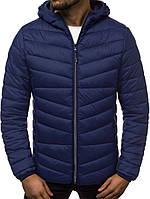 Стеганая куртка мужская с капюшоном деми синяя