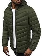 Стеганая куртка мужская с капюшоном деми хаки