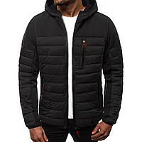 Мужская куртка весная с капюшоном стеганая черная
