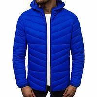 Мужская куртка весная с капюшоном стеганая синяя