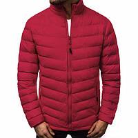 Мужская куртка стеганая воротник стойка красная