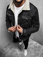 Мужская джинсовая куртка на меху черная