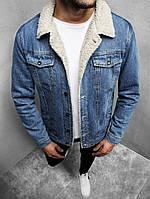 Мужская джинсовая куртка на меху синяя