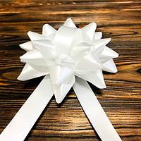 Бант декоративный диаметр 12см, цвет белый с лентой