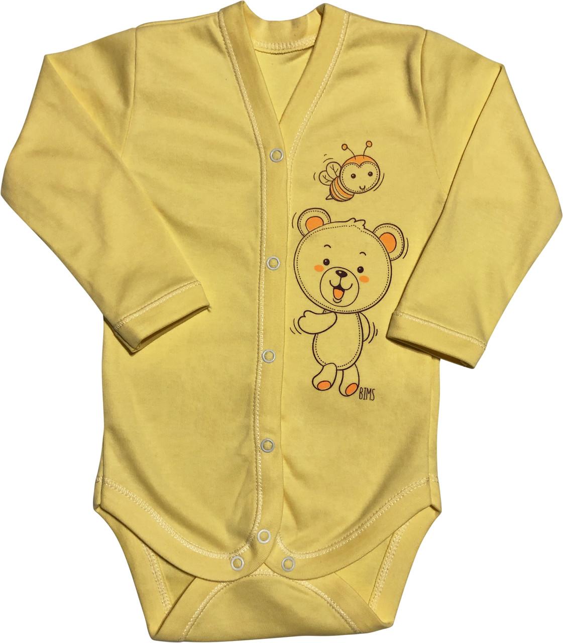 Детское боди для новорожденных  рост 68 3-6 мес на мальчика девочку трикотажное с длинным рукавом жёлтое