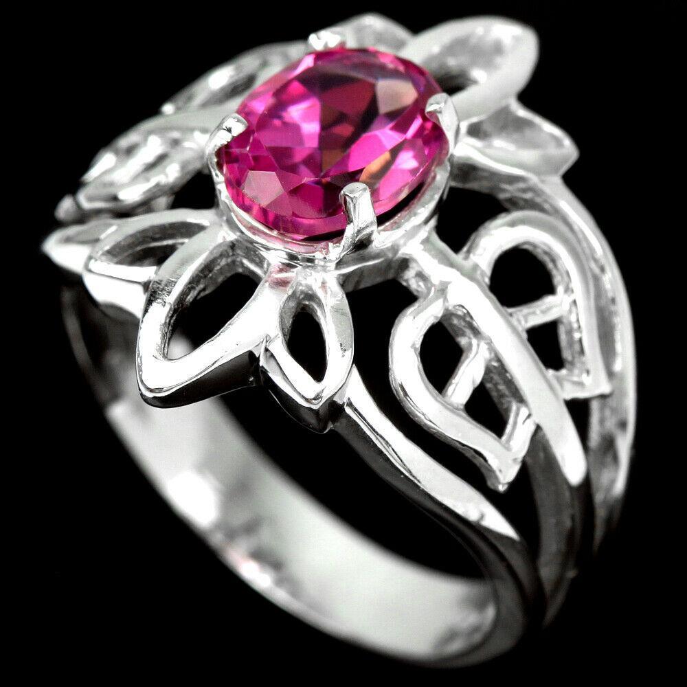 Срібне кільце з топазом рожевим, 2375КЦТ