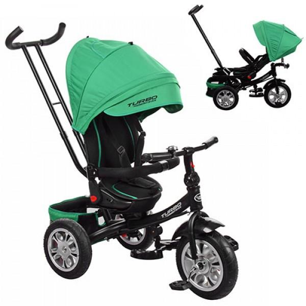 Дитячий триколісний велосипед з ручкою і поворотним сидінням на надувних колесах,TURBOTRIKE зелений