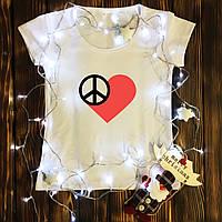 Женская футболка  с принтом - Сердце Хиппи
