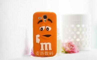 Объемный 3D силиконовый чехол для Samsung Galaxy s3 mini i8190 M&M's оранжевый