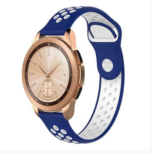 Ремешок для Samsung Gear S3 | Samsung Galaxy Watch 46 | Galaxy Watch 3 45mm силиконовый 22мм Сине Белый